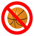 Prohibition to play with the ball basketball vector image vector image