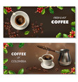 realistic coffee banner set vector image vector image