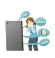 sad girl cyber bulling cell phone vector image