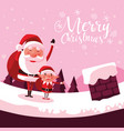 santa claus christmas in chimney with helper vector image