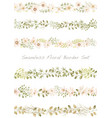 seamless watercolor floral border set vector image vector image