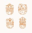 set house badges flat beige vector image vector image