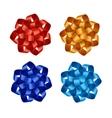 Set of Red Orange Blue Azure Gift Ribbon Bows vector image vector image