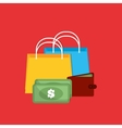 shopping gift box money vector image vector image