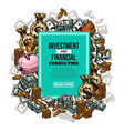 sketch financial investments poster vector image vector image