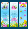 spring wishes banners and flowers vector image vector image