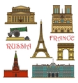 Travel landmarks of France Russia thin line icon vector image