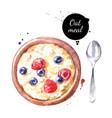 watercolor hand drawn breakfast oatmeal vector image