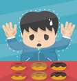 Young dieting man Stand in sweet shop vector image vector image