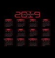 2019 calendar red light tone on black background vector image vector image