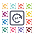 24 service flat icons set vector image