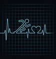 abstract running man with heartbeat vector image vector image