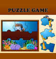 boy diving in undersea with puzzle concept vector image vector image
