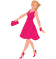 Cartoon woman in pink dress walking vector image vector image