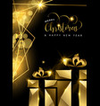 christmas and new year 3d gold gift box card vector image vector image