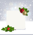 christmas banner with holly berry vector image vector image