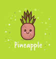 cute pineapple cartoon comic character with vector image vector image