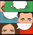 dialogue of two girls and man with speech bubbles vector image vector image