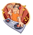 Dj playing music in club vector image