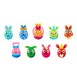 easter egg shaped bunnies colorful girly sticker vector image vector image
