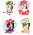 Flower hats vector image