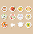Foods On Dish Set vector image
