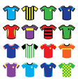 Football or soccer jerseys colorful icons set vector image vector image