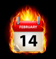 fourteenth february in calendar burning icon on vector image vector image