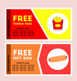 free french fries and hot dog coupon vector image