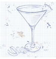 French Martini cocktail on a notebook page vector image vector image