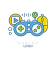 gaming logo template gamepad play button vector image vector image