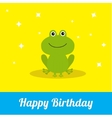Happy Birthday card with cute frog Baby vector image vector image