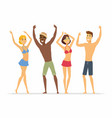 happy friends on the beach - cartoon people vector image