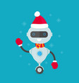 happy smiling robot chat bot in christmas vector image vector image