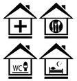 icons with medical wc food and bed on home vector image vector image