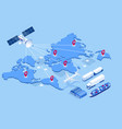 isometric global logistics network concept vector image