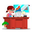 little boss girl serious child in big glasses vector image vector image