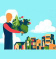 man bring plants and tress for the city vector image