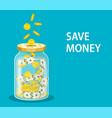 money jar saving dollar coin in jar vector image vector image