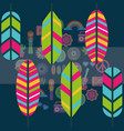 multicolored feathers hippie boho retro free vector image