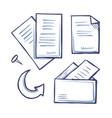 office papers and documents with pin set vector image vector image