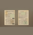 old vintage two pages newspaper layout template vector image