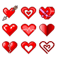 pixel hearts for games icons set vector image vector image