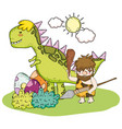 primitive man hunting tyrannosarus and dino eggs vector image