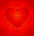 red valentines day background card with big heart vector image