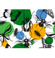 seamless pattern with high detailed insects vector image