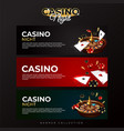 set banner collection casino night vector image vector image
