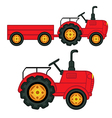 set isolated tractor with trailer vector image