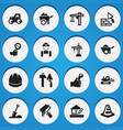 set of 16 editable structure icons includes vector image vector image