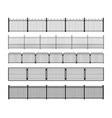 Set of different simple modular metal fence